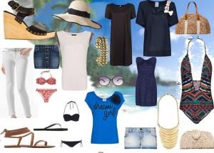 Foto moda na mala. Mala de Praia para mulher estilo clássico.
