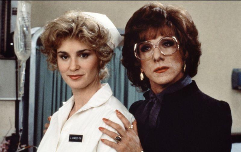 """Com Dustin Hoffman em """"Tootsie"""". Lange é, obviamente, a bonita da foto."""