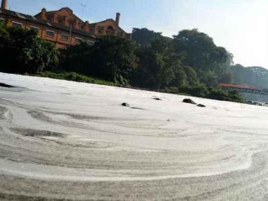 Ocorrência de espuma se deve à poluição do rio por detergentes domésticos  (Foto: Fernanda Zanetti/G1)