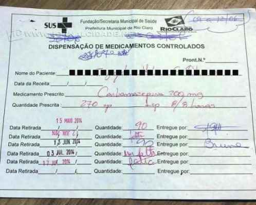 Foto de um documento para controle da retirada de medicamentos, postada por um paciente na rede social Facebook
