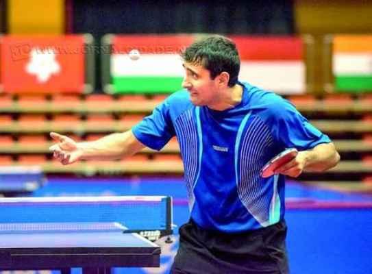 O rio-clarense Carlos Carbinatti Junior durante treino no Centro Paralímpico da China, em Pequim, em preparação para o Mundial, do qual foi eliminado nas quartas de final, ficando em 10º lugar (Foto: Fran Camargo)
