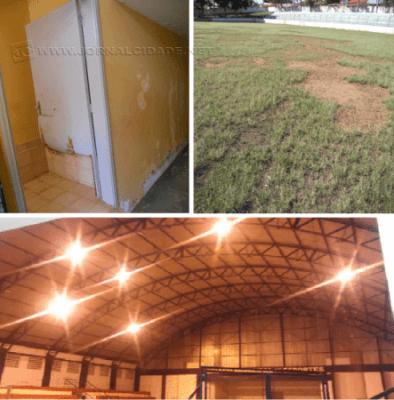 Portas do vestiário do Estádio deterioradas; Campo do Estádio com buracos; apenas 6 refletores do Ginásio funcionam