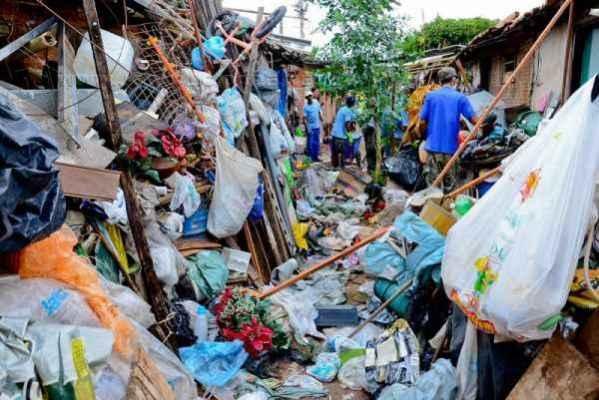 Equipes de várias secretarias trabalham na varredura de uma casa localizada no Parque Universitário