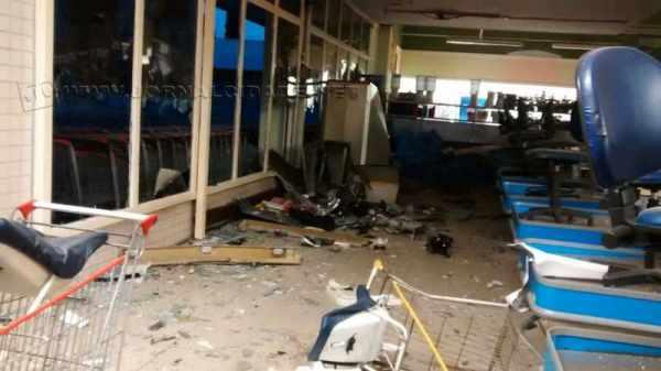 Supermercado ficou com bastante destruição após a explosão (Foto: Guarda Civil Municipal)