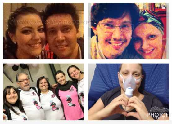 Claudia Rodrigues com o marido Fernando, os amigos e em uma das internações. As fotos foram tiradas do site da campanha
