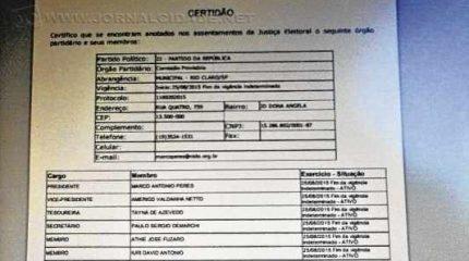 Certidão de composição partidária disponibilizada pelo site do Tribunal Superior Eleitoral (TSE)