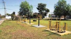 O espaço conta com uma academia ao ar livre, mas a falta de bancos e os formigueiros ainda incomodam