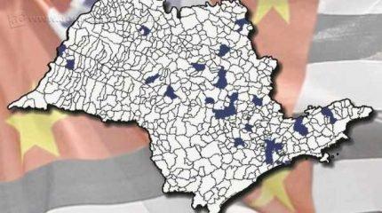Em azul, os municípios paulistas que já aderiram à sondagem pela independência de São Paulo; Rio Claro faz parte da lista