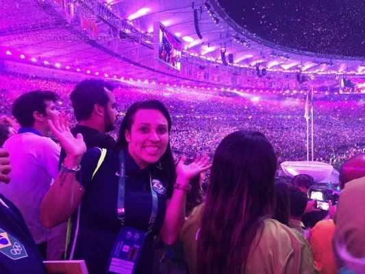 Carmen registrou presença na cerimônia de abertura dos Jogos Olímpicos