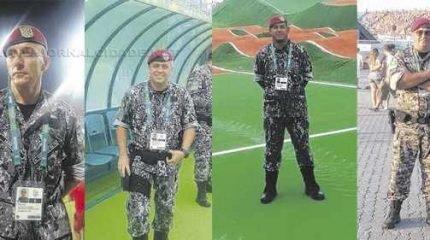 Da esquerda para a direita, os oficiais de segurança de Rio Claro que atuaram no efetivo de segurança das Olimpíadas: policial rodoviário Murilo, bombeiro Gilmarcio e os policiais militares Tomasini e Sérgio
