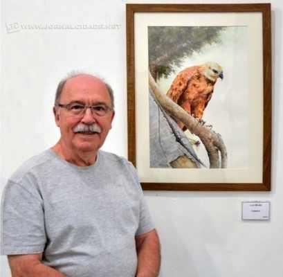 Cada detalhe da ave foi retratado pelo aquarelista Sebastião Luiz Miotto, no quadro 'Formoso'