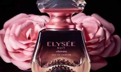 Eau de parfum Elysée Nuit combina rosas damascenas, colhidas em seu momento de maior beleza e perfumação, com o adocicado dos macarrons