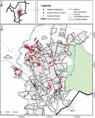 No mapa é possível perceber que a área mais afetada foi a região noroeste de Rio Claro, com mais concentração de pontos vermelhos